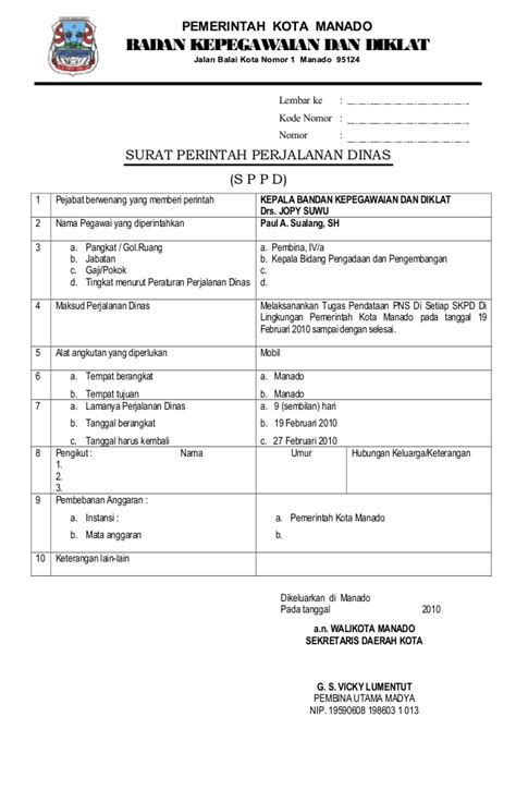 Contoh Sppd Perjalanan Dinas by Contoh Format Surat Perjalanan Dinas Suratmenyurat Net