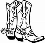 Cowboy Pages Coloring Boot Boots Cliparts sketch template