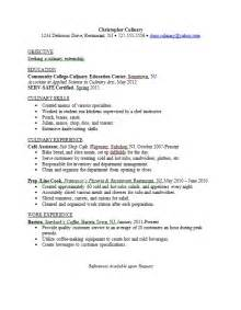 resume for culinary arts 301 moved permanently
