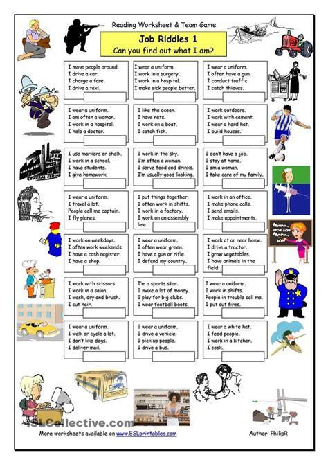 Job Riddles (1)  Easy  Ingles 2  Teaching English Grammar, English Activities Y English Riddles