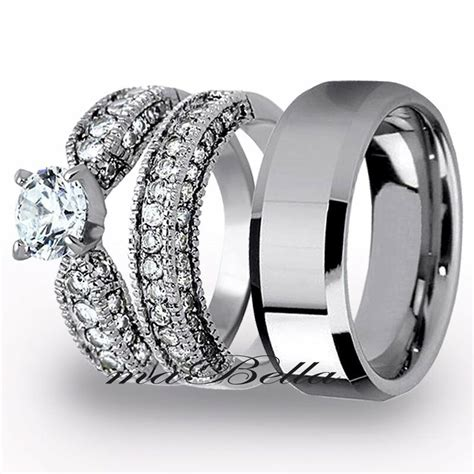 pcs mens tungsten womens stainless steel engagement