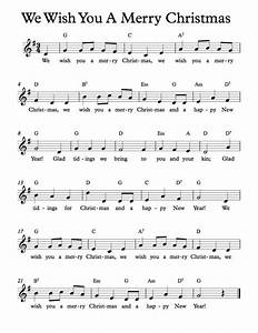 free sheet music free lead sheets we wish you a merry With christmas letters musical