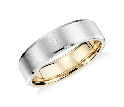 matte beveled edge wedding ring in platinum and 18k yellow gold 6mm blue nile