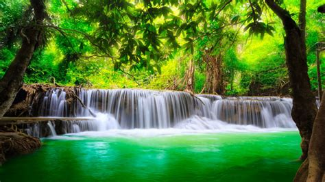 green river waterfall kanchanaburi thailand beautiful