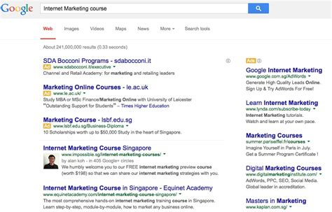 web marketing course keyword quot marketing course quot top of search