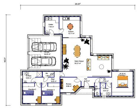 plan maison plain pied 3 chambres plan maison plain pied 2 chambres gratuit une question