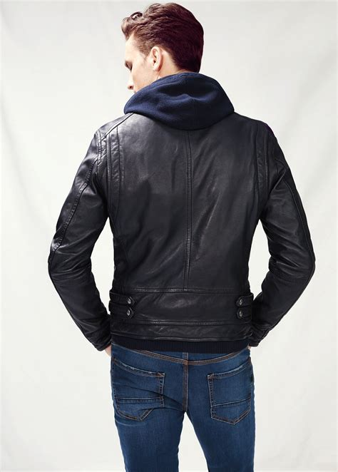 mango leather bomber jacket  black  men lyst
