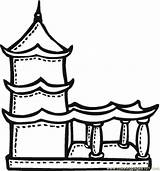 Coloring Pages Temple Buddhist Buddha Chinese Drawing Terrace Printable India Mayan Colour Temples Pagoda Buddhism Drawings Template Sketch Religions Children sketch template
