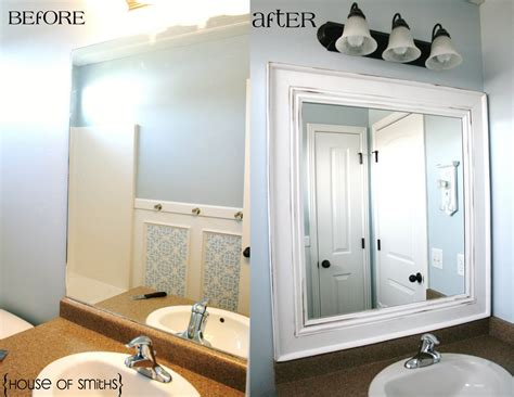 Bathroom Mirror Frames by Upgrade The Look Of Those Plain Builder S Grade