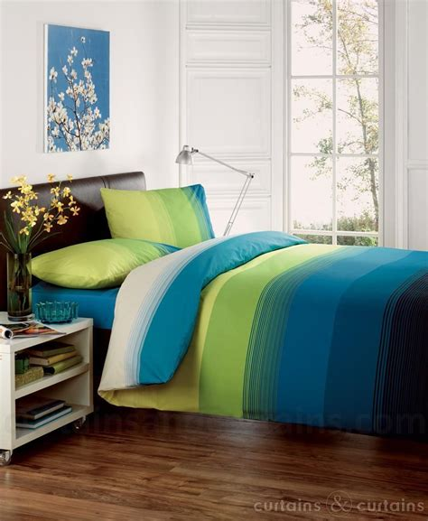 studio lime green teal striped print duvet cover beds uk
