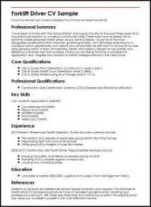 Curriculum Vitae For Truck Driver by Forklift Driver Cv Sle Myperfectcv