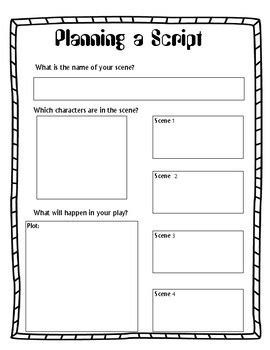 play script template planning a script play screenplay story board graphic organizer ela