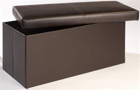 Leather Ottoman Footstool by Madrid Storage Ottoman Footstool Brown Faux Leather
