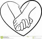 Holding Drawing Hands Heart Cartoon Drawings Shape Simple sketch template