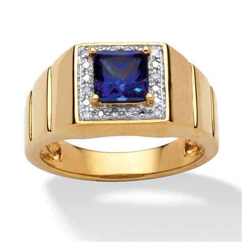 mens  tcw square cut blue created sapphire  gold