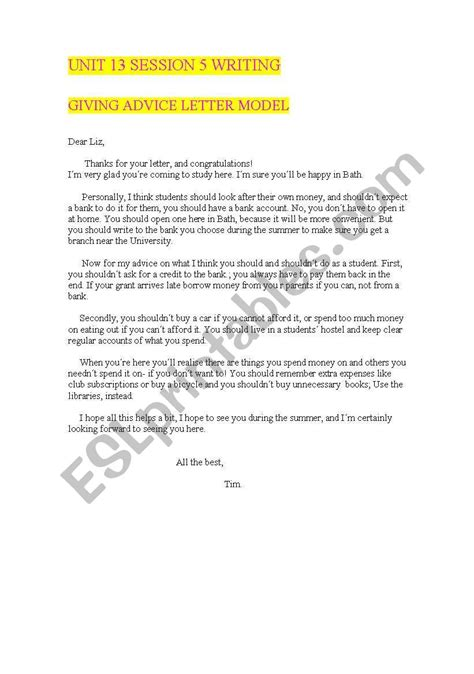 giving advice model letter esl worksheet  mariabromero