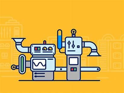Crm Production Lab Dribbble Machine Animation Factory