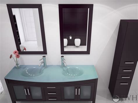 jwh living  grand regent double sink vanity glass top