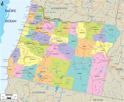 political map  oregon ezilon maps