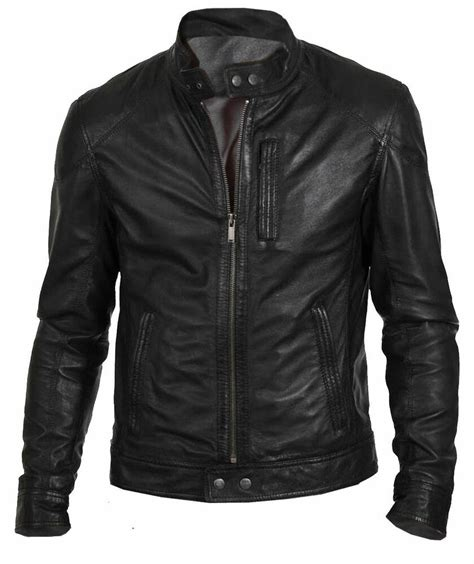 men s biker hunt black motorcycle leather jacket ebay