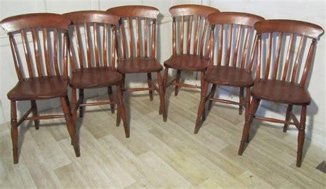 set of 6 slat back farmhouse kitchen chairs