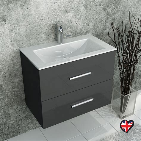 buy sonix grey wall hung  unit  drawers ceramic basin