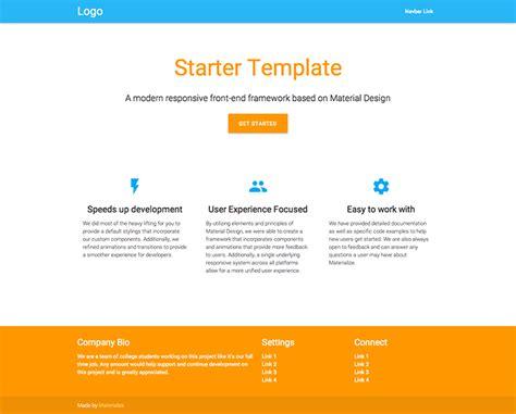html starter template 5 best free material design templates the design flex
