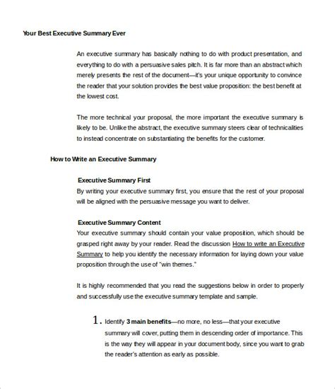 31 executive summary templates free sle exle