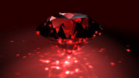 Red Ruby Diamond On The Black Background. Stock Footage