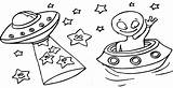Coloring Space Outer Ufo Ufos Pages Cool sketch template