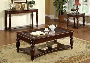 Windsor dark cherry solid wood display compartment coffee for Cherry wood coffee table and end tables