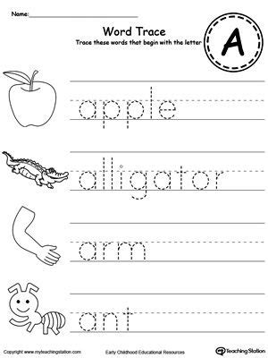 trace words that begin with letter sound a worksheets 465 | 332f77a58aaa2131e1b8108841ac45fa