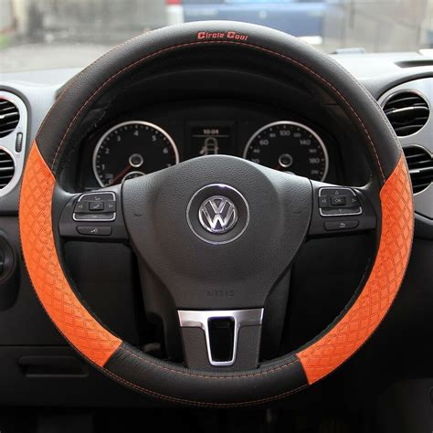 black and orange steering wheel cover black orange pvc leather steering wheel cover chevy dodge