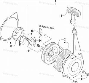 Arctic Cat Atv 2001 Oem Parts Diagram For Recoil Starter Assembly