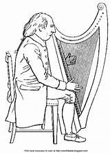Harp Playing Irish Musician Bible Enlarge sketch template