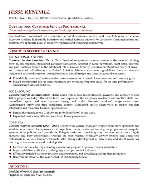 customer service associate description resume resume