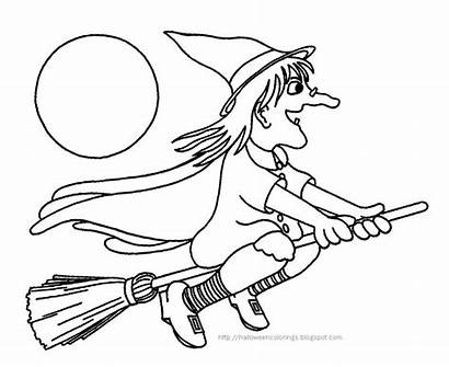 Halloween Colorings Witches Coloring Pages Cat