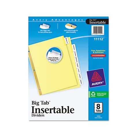 avery big tab template avery insertable big tab dividers ave11112 shoplet