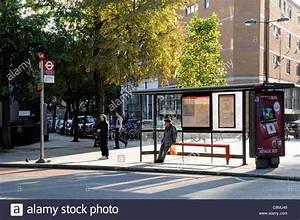 City bus stop in sunlight, Finsbury London Borough of ...