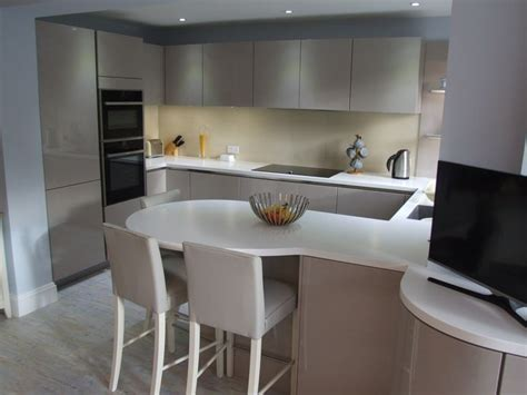 Gloss Kitchen Decor Ideas by Mat White Worktops With Gloss Units