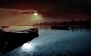 Moonlight night on the river wallpapers and images ...