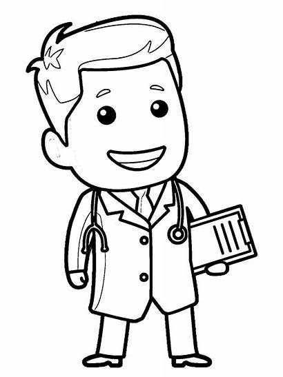 Doctor Coloring Nurse Clipart Pages Drawing Printable