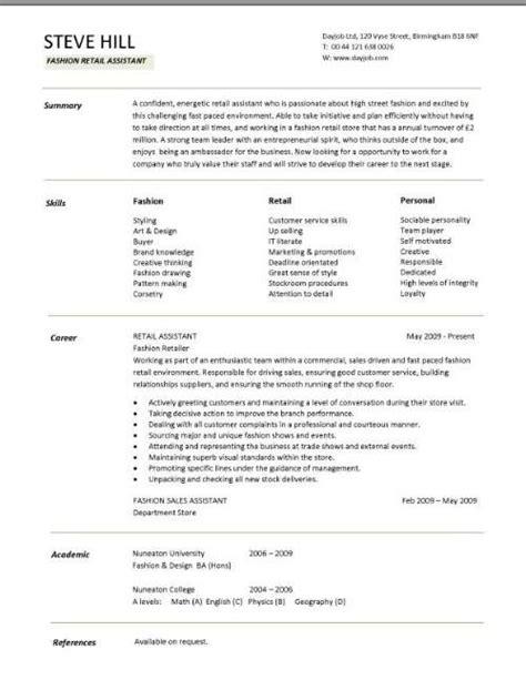 Target Resume Portfolio sle cv targeted at fashion retail all