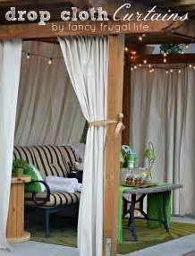 cabana patio makeover with diy drop cloth curtains