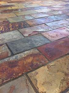 Colorful And Rich Slate Tile With Copper Accent Colors  By