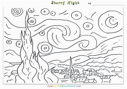 Starry Night Coloring Gogh Worksheets Printable Template