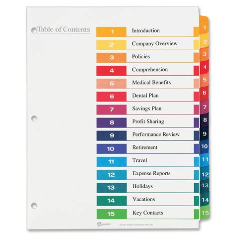 avery 25 tab table of contents template avery ready index table of contents reference dividers