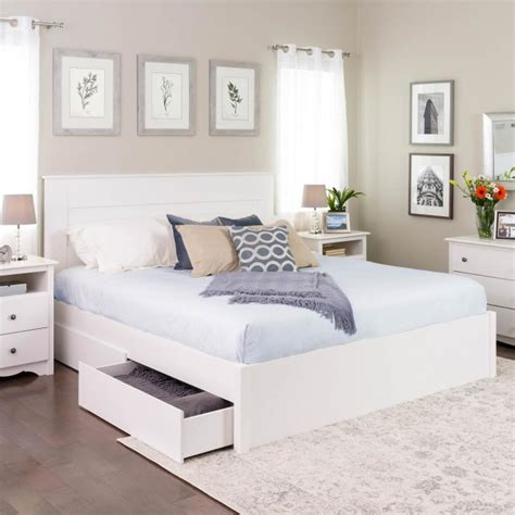 king select  post platform bed   drawers prepac mfg