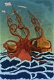 Giant Squid Attacking Ship 1801 Rolled Canvas Art ...