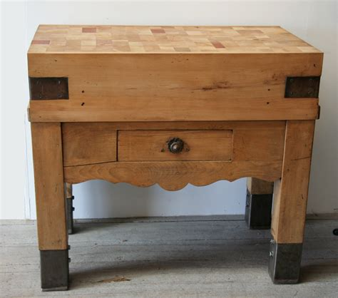 French Beech Butcher's Block  Haunt  Antiques For The